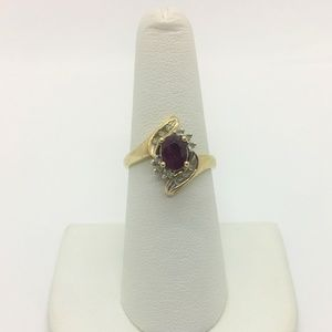 Jewelry - 10k Gold Vintage Ruby and Diamond Ring Size 7